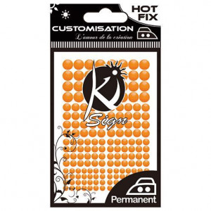 Metall Formen, Hot Fix NEON COLOR, 3 / 4 / 5 / 6 mm, 176 Stück neonorange