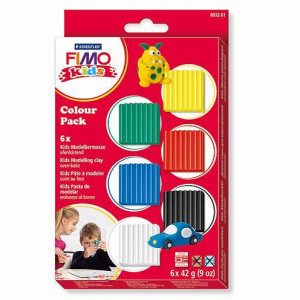 Fimo® Kids, Colour Pack - Basic, 6 x 42 g, sortiert