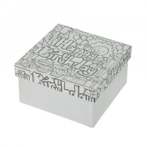 DoodleArt Happy Birthday, Box Quadrat, 10 x 10 x 5 cm