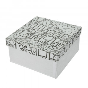 DoodleArt Happy Birthday, Box Quadrat, 14 x 14 x 7 cm