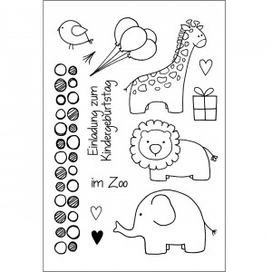 Stempel Clear, Zoo kindlich, A7, 13 - teilig, transparent