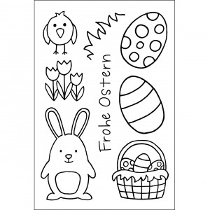 *NEU* Stempel Clear, Frohe Ostern, A7 / 74 x 105 mm, 8 - teilig, transparent