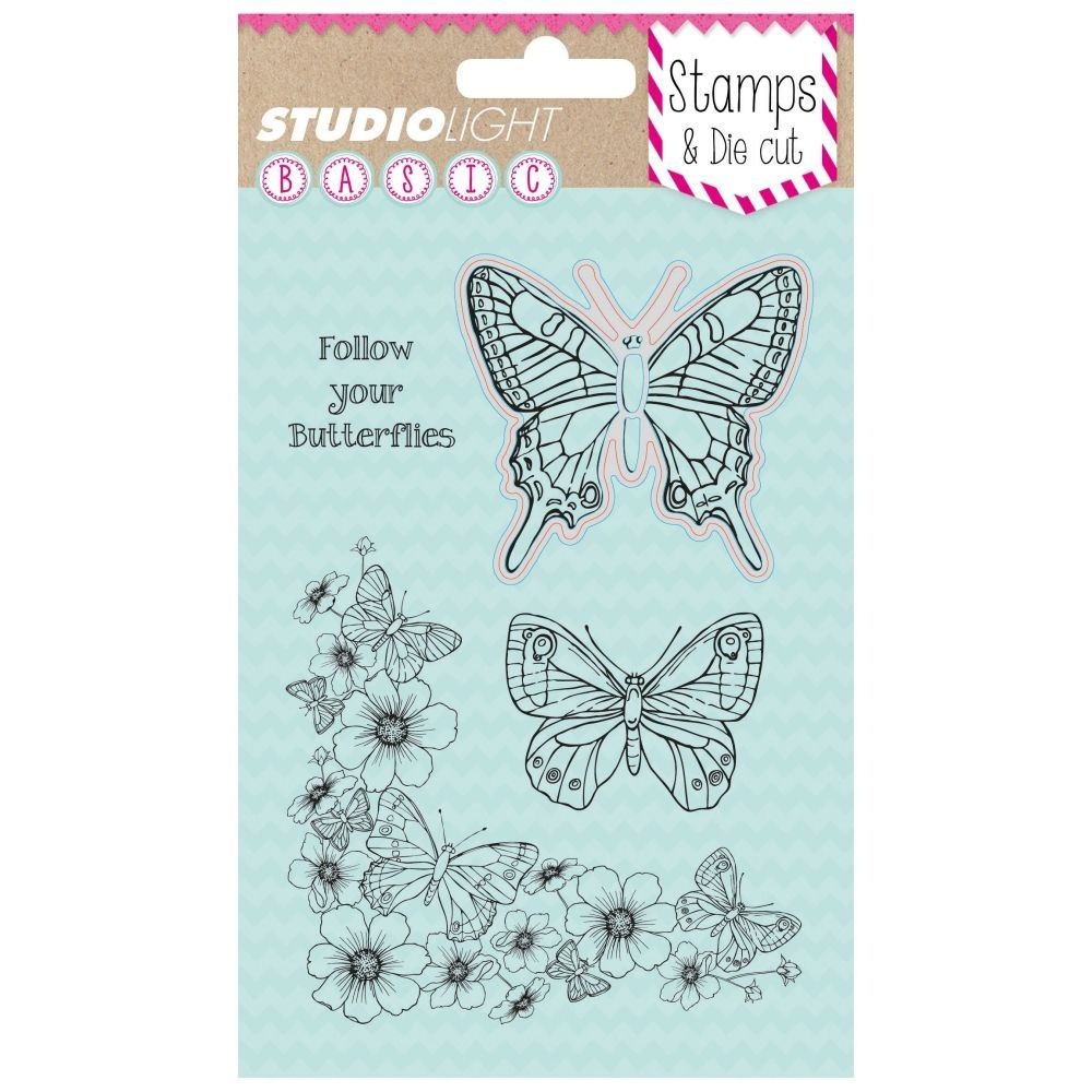 Stamp & Die cut, Follow your Butterflies BASIC, A6 / 105 x 148 mm, 5 - teilig, transparent 01