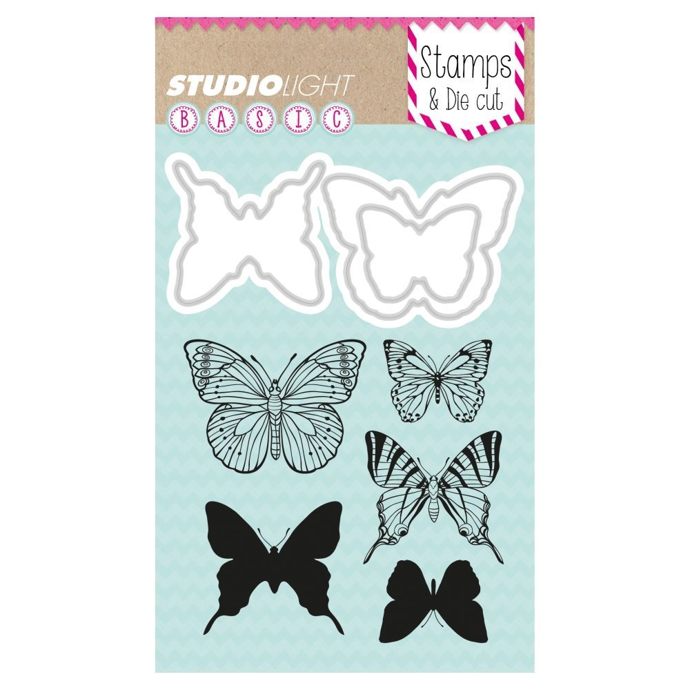 Stamp & Die cut, Butterflies BASIC, A6 / 105 x 148 mm, 8 - teilig