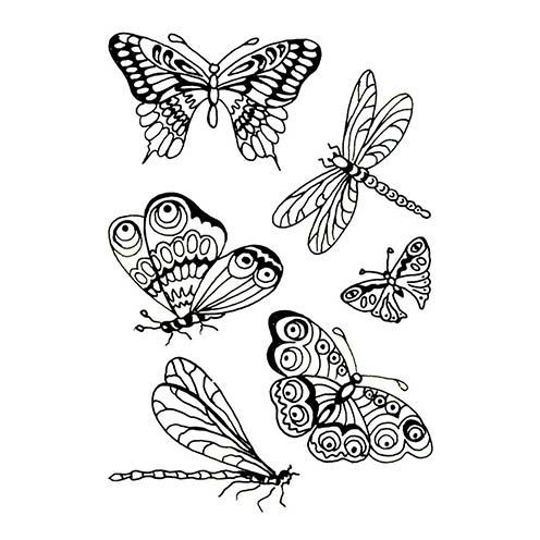 Stempel Clear, Butterfly, A7 / 74 x 105 mm, 6 - teilig, transparent