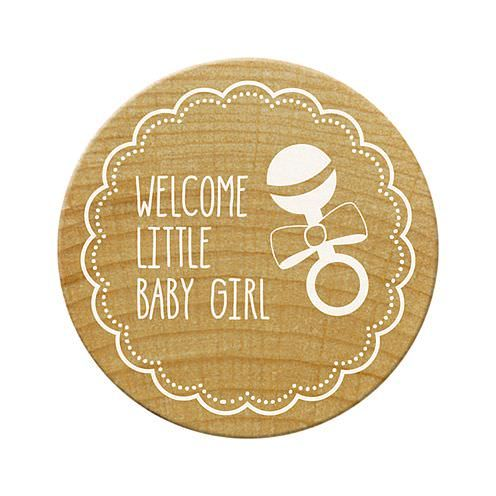 Woodies Stempel, Welcome little baby girl, ø¸ 30 mm