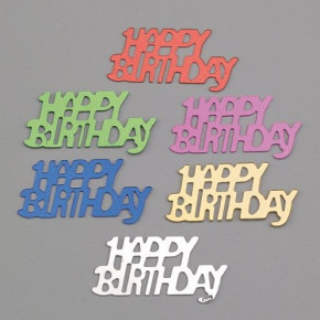 Pailletten, Happy Birthday, 15 x 30 mm, 20 g, farbig sortiert