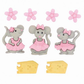Knopf, Mice Girls, ca. 11 x 11 - 23 x 23 mm, 9 Stk., bunt