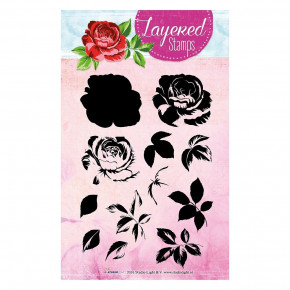 Stempel Clear, Layered Stamps -  Rose, A6 / 105 x 148 mm, 12 - teilig, transparent