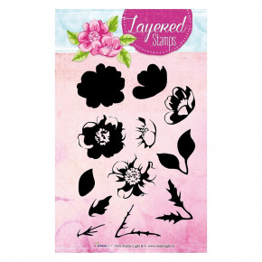 Stempel Clear, Layered Stamps - Heckenrose, A6 / 105 x 148 mm, 12 - teilig, transparent