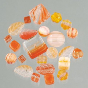 Glasperlenmix, sortiert, 500 g, orange